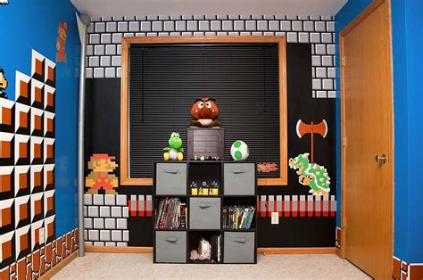 mario bedroom cool parents make super awesome super mario room for their
