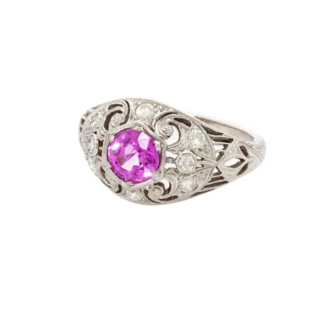 vintage platinum and pink sapphire ring tiny box