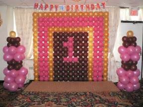 First Birthday Decoration Ideas Birthday Balloon Decoration With Number Photo Albums