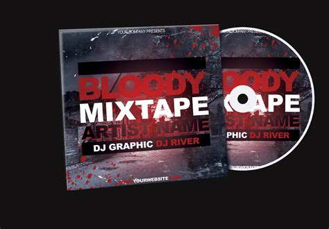 cd cover template psd free bloody mixtape cd cover free psd template by klarensm on