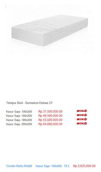 Kasur Tempur kasur tempur harga bed termurah di indonesia
