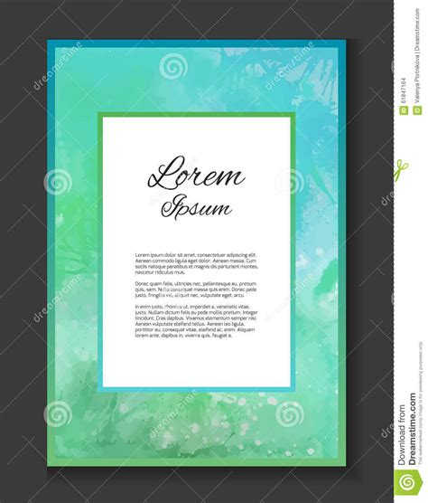 Invitation Letter Pattern Template Turquoise Watercolor Background For Thank You Letter Stock Vector Image 61847164