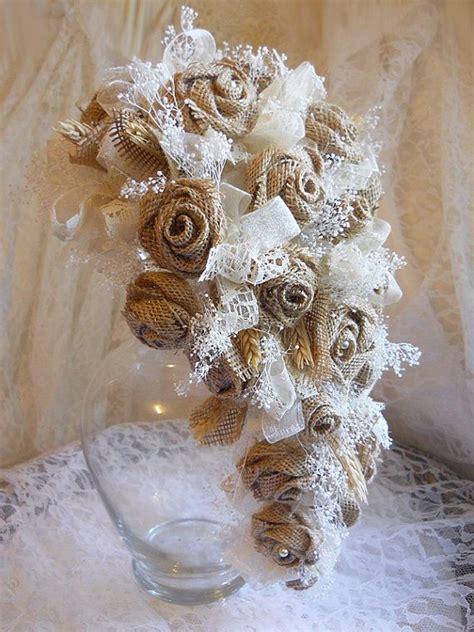 Burlap Roses Handmade - burlap lace bridal cascade bouquet handmade of burlap
