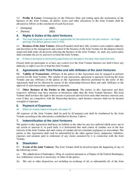 joint venture contract template free joint venture agreement sle free