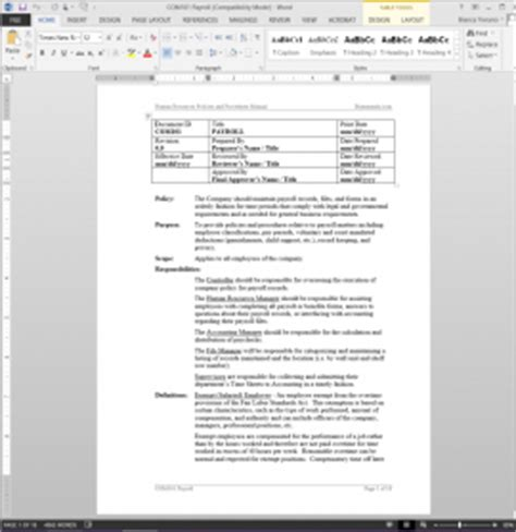 Payroll Policies And Procedures Manual Payroll Procedure Manual Payroll Sop Template