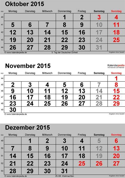 Calendar 2015 November December Kalender November 2015 Als Excel Vorlagen