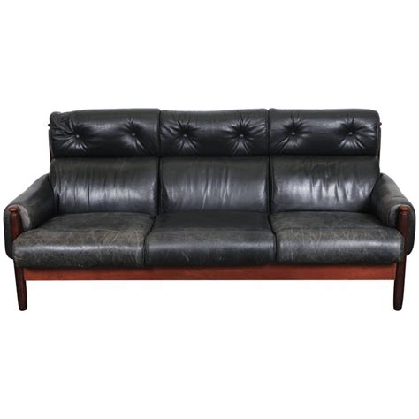 black leather mid century sofa mid century swedish black leather sofa at 1stdibs
