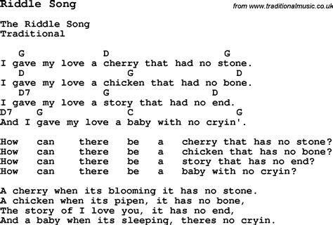 song on traditional song riddle song with chords tabs and lyrics