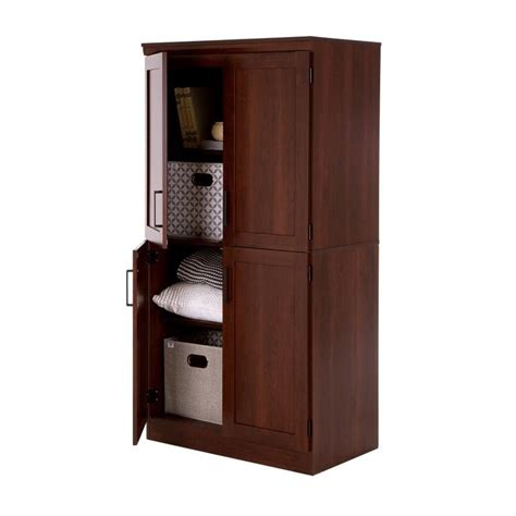 Shore Armoire by South Shore 4 Door Wood Shaker Armoire In Royal Cherry 9071971