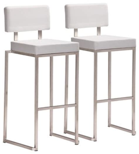 modern bar stools stainless steel zuo decade stainless steel and white bar stool set of 2