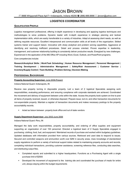 Sle Resume Of Logistics Coordinator Logistics Coordinator Resume Exles 28 Images Top Logistics Resume Templates Sles Logistics