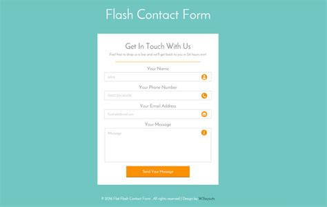 Flash Contact Form Responsive Widget Template W3layouts Com Contact Us Page Template Html