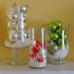 Hurricane Glass Vase Centerpieces Diy Dollar Store Christmas Decor Trusper