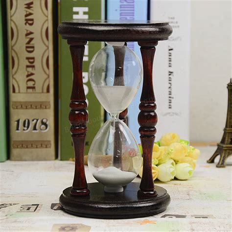 hourglass home decor 60 minutes wood white sand glass hourglass timer clock