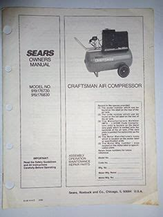 vintage owners manual 1978 sears cylinder tank type air compressor guide manuals