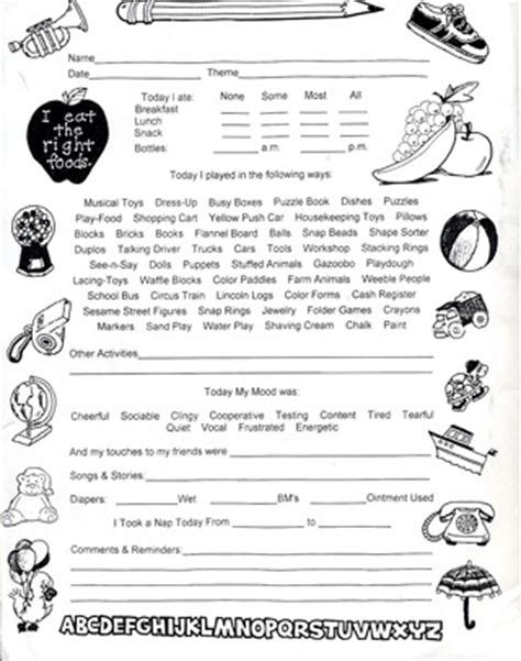 family day care parent handbook template toddler daily sheet in home day care forms