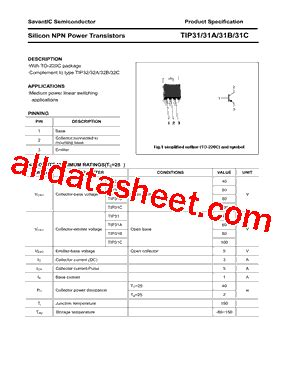 transistor tip31c datasheet tip31c datasheet pdf savantic inc