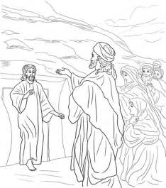 coloring page jesus and lazarus jesus raises lazarus from the dead coloring page free