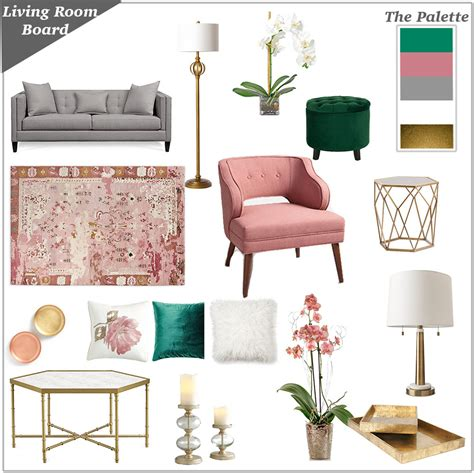 Scandinavian Style Armchair Living Room Inspiration Board In Pink Grey Green And Gold