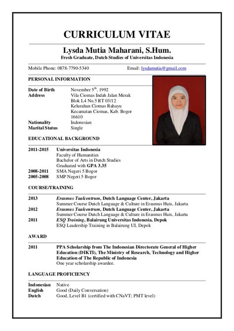 cara membuat resume in english contoh curriculum vitae dalam english