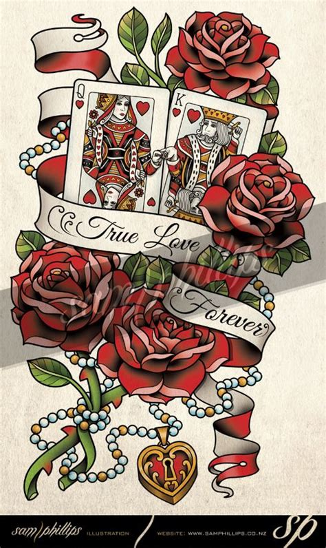tattoo lisboa queen hearts cards king and queen of hearts tattoo by sam phillips nz