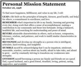 personal mission statement template personal mission statement exles for resume