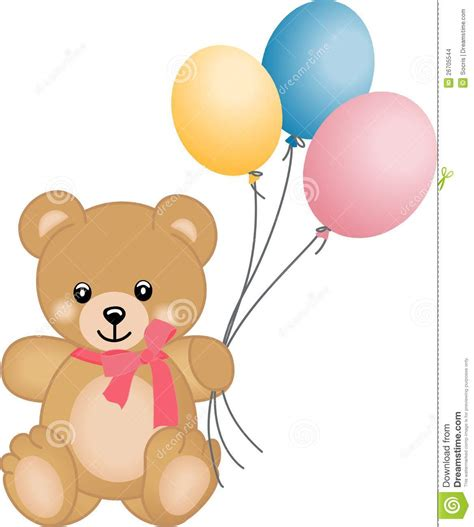 Cute teddy bear flying balloons stock vector image 26705544