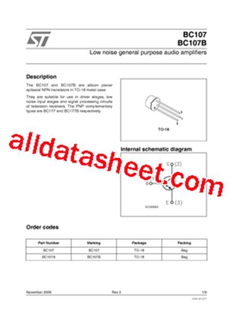 datasheet of transistor bc107 bc107 datasheet pdf stmicroelectronics