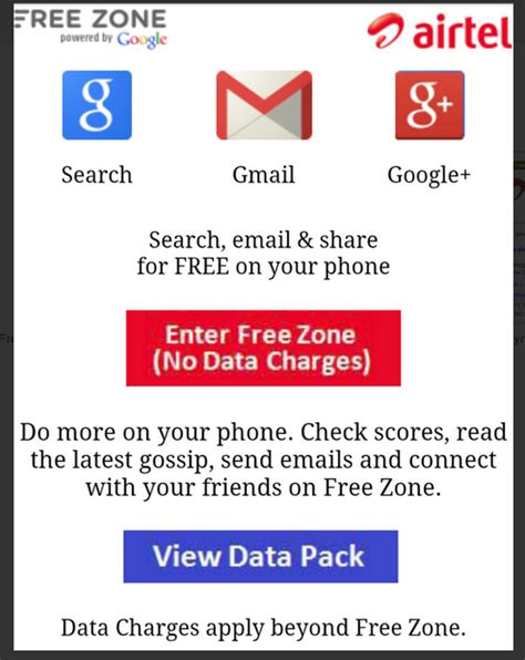 Free Search With Free Results No Cost Airtel Launches Free Zone Offers Services At Zero Data Cost