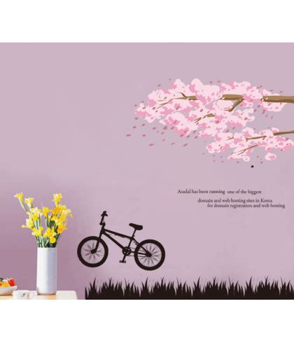 pink tree wall sticker pink tree and bike wall decal sticker recta tech