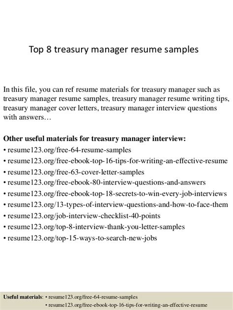 Treasury Manager Cover Letter by Top 8 Treasury Manager Resume Sles