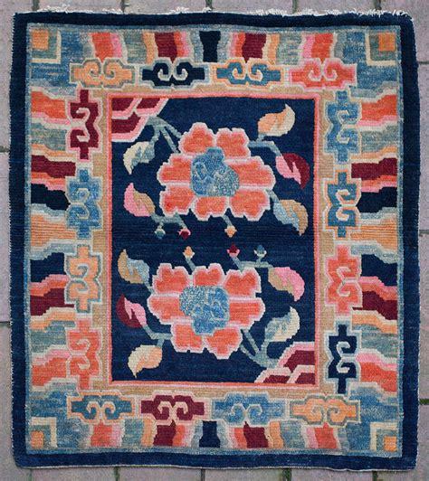 lotus flower rug friendly lotus flower design tibetan saddle top rug at 1stdibs