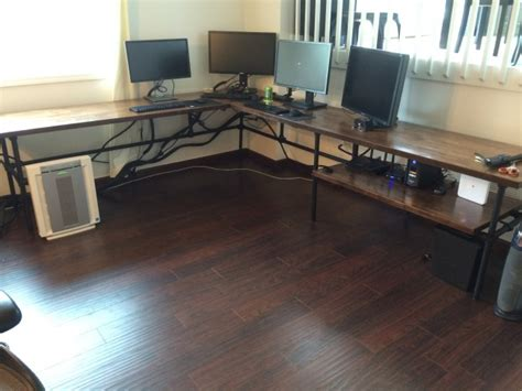 Building A Massive L Shaped Desk For A Better Workflow Build L Shaped Computer Desk