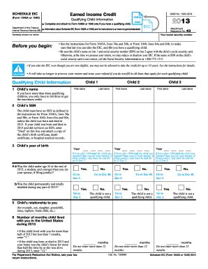 Tax Credit Form Print 2013 Form Irs 1040 Schedule Eic Fill Printable