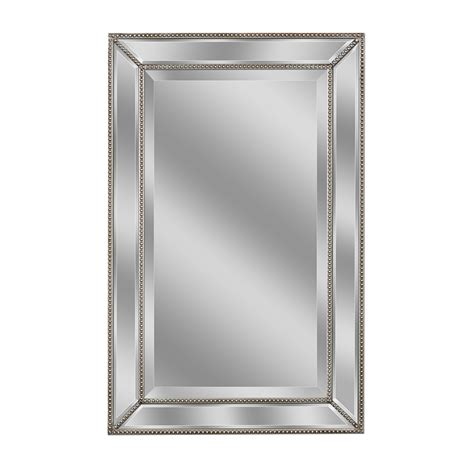 silver bathroom mirror allen roth 20 in x 32 in silver beveled rectangle framed