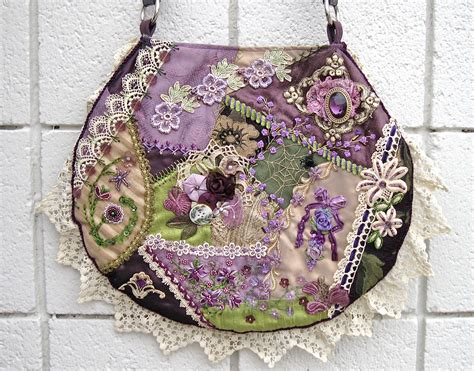 Quilt Purses by Purse Quilt Handbag Embroidery With Vintage Lace