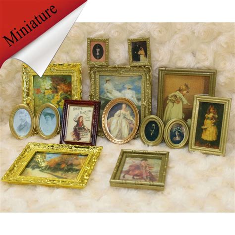 Vintage Home Decor Accessories 4pcs Vintage Miniature Dollhouse Framed Wall Painting 1 12 Scale Doll House Home Decor