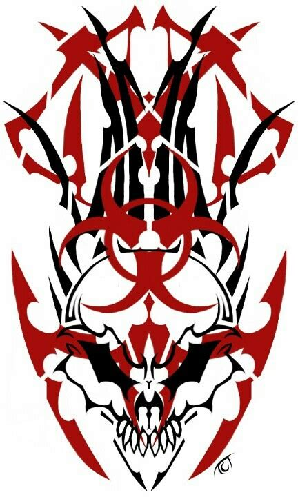 biohazard tattoo designs tribal skull with biohazard symbol by teddy tct