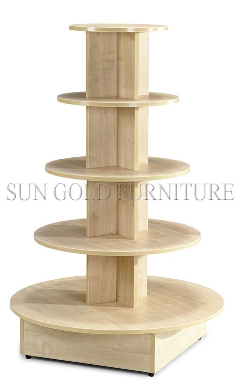 5 tiered round wooden display stand display table sz