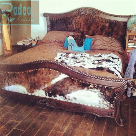 Cowhide Headboards 60 goodwill cracked wooden bed i upholstered with padded cowhide headboard and footboard to