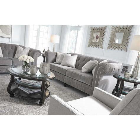 silver tufted sofa tiarella silver tufted sofa 7290138 ashley furniture afw
