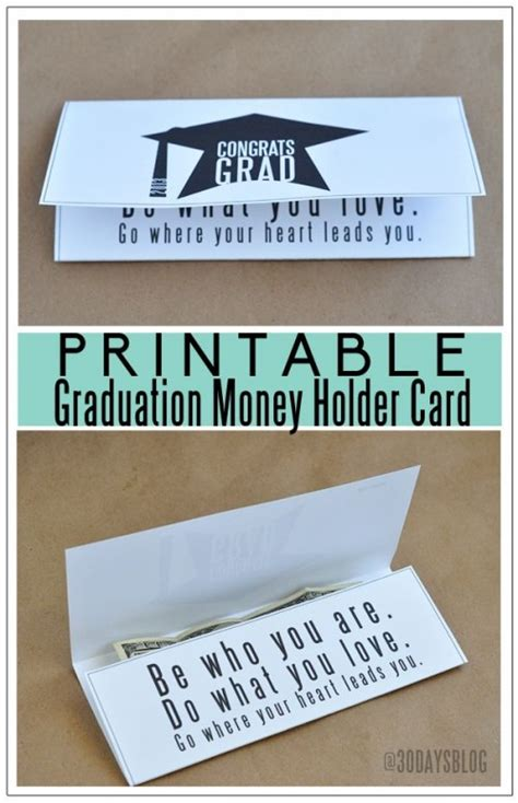 printable money holder card template 10 graduation ideas and free printables