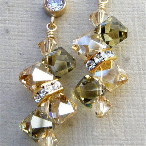 Esty Handmade - chagne peridot earrings yellow gold green