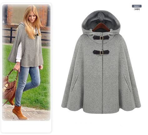 2017 autumn winter gossip grey black hooded cape coat