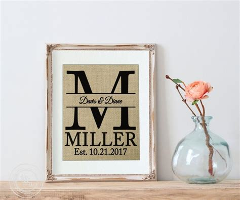 Wedding Gift Wall by Personalized Wedding Gift Burlap Personalized Wedding