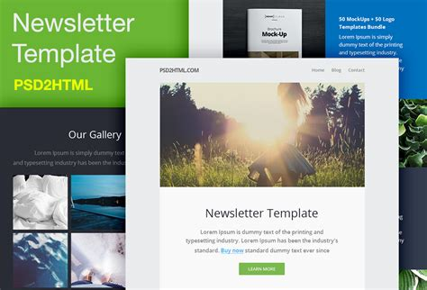 Free Newsletter Template Psd Html Graphicsfuel Free Sle Newsletter Templates