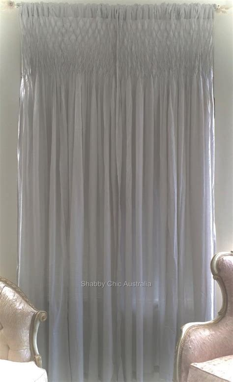 shabby french provincial curtains drapes grey vintage smocked panels chic  ebay
