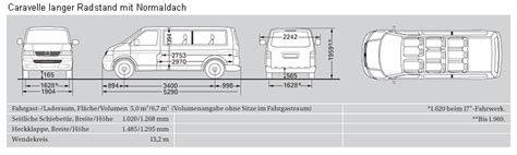 volkswagen caravelle dimensions vehicle specifications caravelle