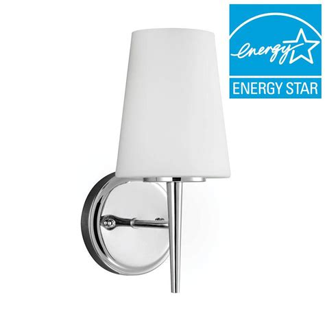chrome bathroom sconce sea gull lighting driscoll 1 light chrome fluorescent wall
