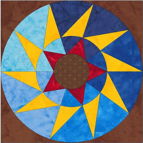 Five Pointed Quilt Pattern by Spinning Five Point Paper Template Quilting Block